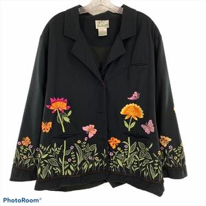 QUACKER FACTORY | Black Embroidered Blazer Jacket
